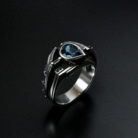 "Silver Industrial Steampunk Ring  ""Probatundum"" with Topaz"