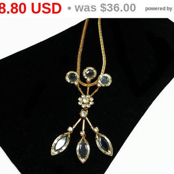 Vintage Crystal Necklace - Marquise Bezel Set Faceted Rhinestone Pendant - Clear Crystal Glass Rhinestone Necklace