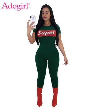 e67cc51eb Adogirl Super Letter Print Jumpsuit Women Short Sleeve Rompers S