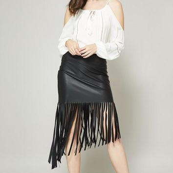 Leather Skirt W/ Asymmetrical Fringe