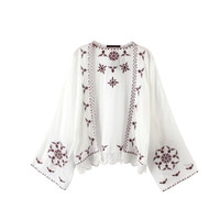 Plus Size Boho Floral Embroidered Women Kimono Cardigan Long Sleeve Blouses Loose Tops