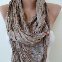 Light Brown Scarf Silky Embroidered Fabric by SwedishShop on Etsy