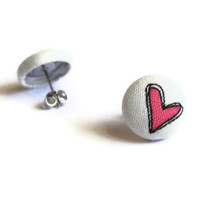 Heart Dark Pink Fabric Covered Button Earrings