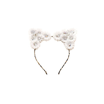 White Rhinestone Cat Ear Headband, Floral Cat Ears, Kitty Ears Headband, Rave Costume, Coachella Crown, Electric Daisy Carnival, Ezoo, PLUR