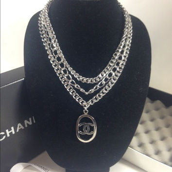 Silver Necklace. Triple Chain W Chanel Charm (Handmade)