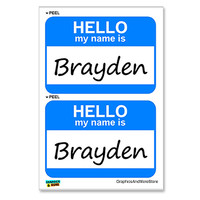 Brayden Hello My Name Is - Sheet of 2 Stickers