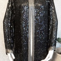 Vintage 1980s Sequin + Beaded Silk Evening Jacket