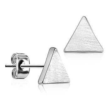 BodyJ4You Triangle Earrings Studs Brushed Finish 8mm Stainless Steel Post Ear Stud for Women and Men's
