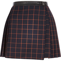 River Island Womens Navy check pleated buckle skirt