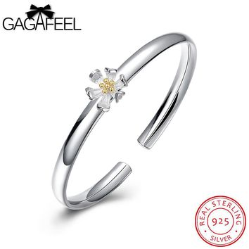GAGAFEEL Real Pure 925 Sterling Silver Flower Bangles Cuff Bracelets for Women Silver Wedding Jewelry  Bangle Watch Bracelets