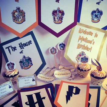 Harry Potter Inspired Party Hogwarts Houses Table Package With Banner