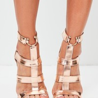 Missguided - Rose Gold Bullring Gladiator Strappy Heeled Sandals