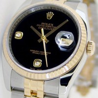 Rolex Datejust Gold Steel Black Onyx Diamond 116233 Rehaut Jubilee - WATCH CHEST