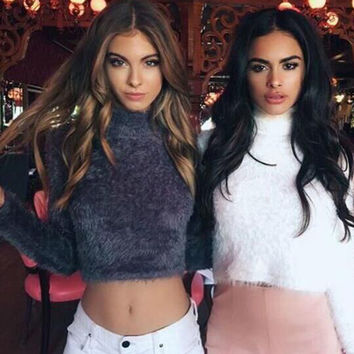 2016 New arrival Cropped Sweater Long Sleeve O neck Plush Clothing Crop Top Short Sweaters Autumn Winter Pullovers