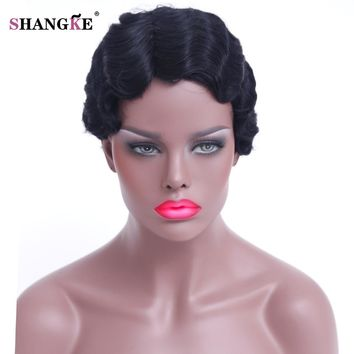 SHANGKE Hair Short Curly Synthetic Wigs For Black Women Short Black African American Wigs Women Heat Resistant Hair