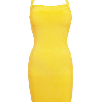 Yellow Sleeveless Strappy Cut-Out Back Bodycon Dress