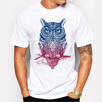 men's fashion short sleeve night warrior owl printed t-shirts  funny tee shirts Hipster O-neck popular tops