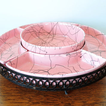 Vintage spaghetti string drizzle relish tray, pink and black glazed pottery, appetizer server, lazy susan, chip and dip set, Atomic style