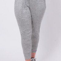 Plus Size French Terry Ruched Jogger - Grey