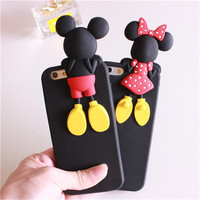 New arrival Luxury 3d cute cartoon mickey minnie mouse soft silicone black color cover case for iPhone 5 5s 6 6s plus