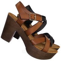 Ferry3 70's Retro Sculpted Lightweight Wooden Block Heel Platform Clog Sandal