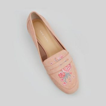 Wide Fit Pink Suedette Embroidered Loafers