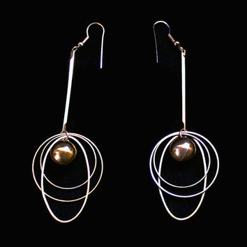 Retro Atomic Oval And Circle Dangle Earrings In Gold Tone, 4 Inches Long
