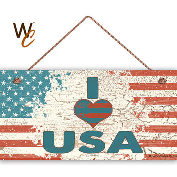 "I Love USA Sign, Weathered Patriotic Decor, I Heart USA, Weatherproof, 5"" x 10"" Sign, Grunge USA Flag, 4th of July Sign, Made To Order"
