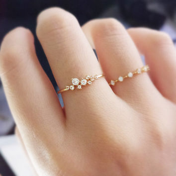 14K gold ring,Petite Diamond Engagement Ring, Princess Diamond Engagement, Simple Gold Diamond Ring,slender delicate ring