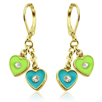 Young Girls Jewelry/Girl Earrings/Little Girl Earrings/Earrings for Kids, Double Heart 14K Gold Plated, Leverback Earrings - Teal and Lime