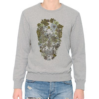 Crewneck Sweatshirt with Floral Skull Print, Gray, Size: