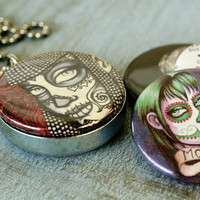 Day of the Dead locket and ring combo by ShayneoftheDead on Etsy