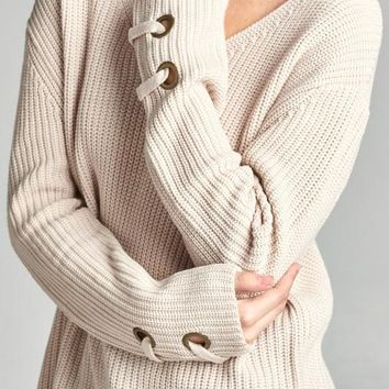 Long Sleeve V Neck Lace Up Sleeve Detail Sweater - Light Taupe