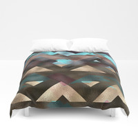 Bronze Brown Blue Burgundy Metal Abstract Mountains Duvet Cover by Sheila Wenzel