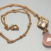 Rose Gold Quartz Cz necklace