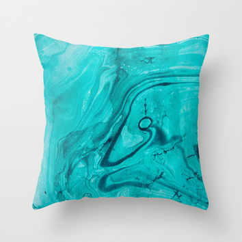 Watercolors teal Throw Pillow by VanessaGF
