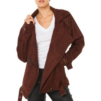 Oversized Suede Moto Jacket - Brown