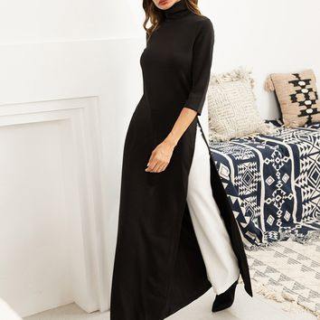 Split Side High Neck Maxi Tee