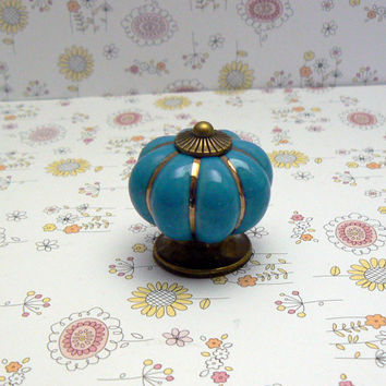 Blue Cabinet Drawer Round Pumpkin Style Knob Handle Kitchen Dresser Furniture Decorative Hardware Ceramic Gold Pin Stripe Antique Bronze