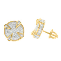 Yellow Gold Finish Earrings Mens Womens 925 Sterling Silver