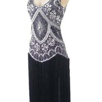 20s Reproduction Silver Beaded Black Fringed Flapper Dress
