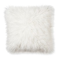 "Cream Mongolian Faux Fur Throw Pillow 18""x18"" - Xhilaration™"
