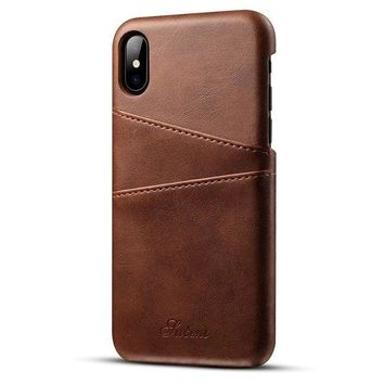 ONETOW iPhone X Cell Phone Protective Case for Men and Women,Back Cover Cases with Credit Card Holder (Brown)