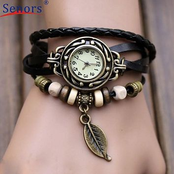 Watch relogio masculino 2017  1PC Women Watches Bracelet Weave Wrap Quartz Leather Leaf Beads Wrist Hours   send in 2 days