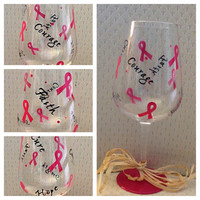 Breast Cancer Wine Glass, Support Breast Cancer Wine Glass
