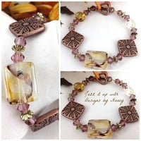 Incredible Lampwork Copper Metal Cranberry Swarovski Crystal Bracelet