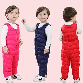 New winter baby clothing kids duck down pants high waist warm jumpsuits for snow wear toddler boys girls warm rompers outerwear