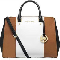 MCHAEL  KORS Women Shopping Leather Tote Crossbody Satchel Shoulder Bag  White brown