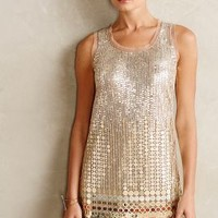 Disc-Beaded Shift by Anthropologie Nude