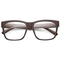 Large Wood Print Horned Rim Modern Clear Lens Glasses 9898
